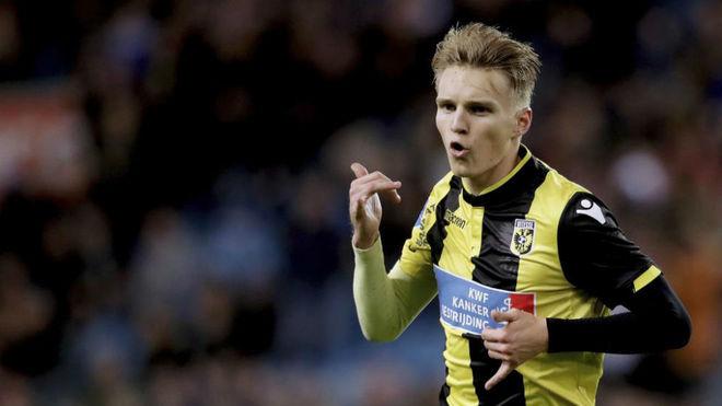 Odegaard celebrates a goal for Vitesse.