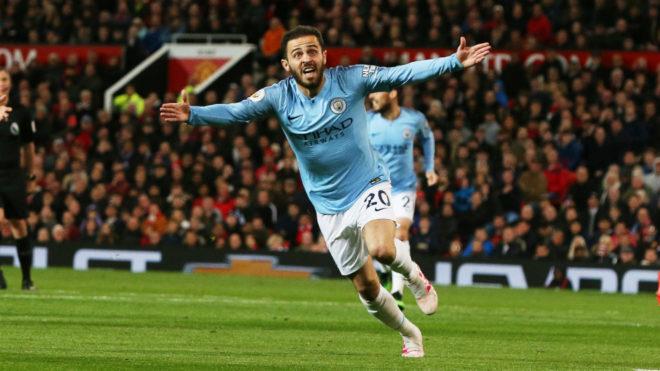 Bernardo Silva celebra su gol al United