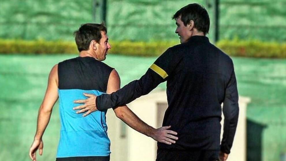 Messi y Tito, en una sesión de entrenamiento