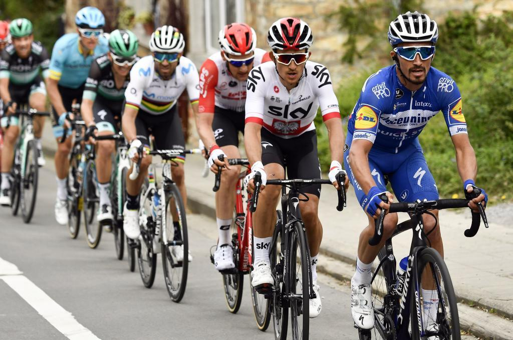 "Spains <HIT>Alejandro</HIT><HIT>Valverde</HIT> of Movistar Team, Belgiums Tim Wellens of Lotto Soudal, Polands Michal Kwiatkowski of Team Sky and Frances Julian Alaphilippe of Deceuninck-Quick-Step compete during the 83rd edition of the one-day cycling race ""La Fleche Wallonne"", 195,5km from Ans to Huy, on April 24, 2019. (Photo by ERIC LALMAND / BELGA / AFP) / Belgium OUT"