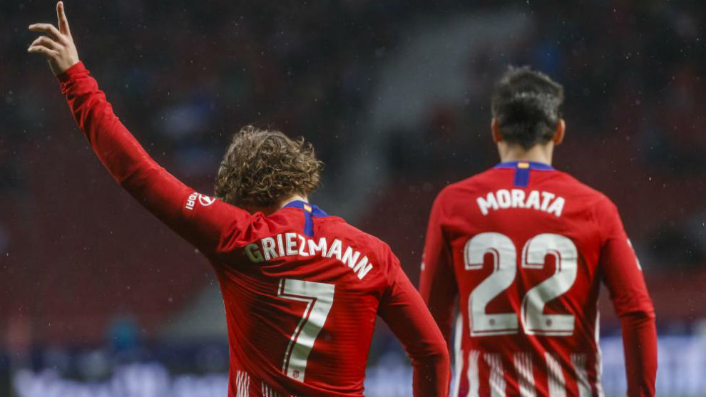 Griezmann celebra un gol ante el Valencia.