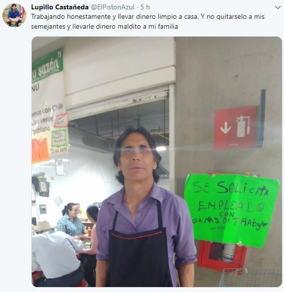 Lupillo Castañeda presume su empleo en una cocina económica