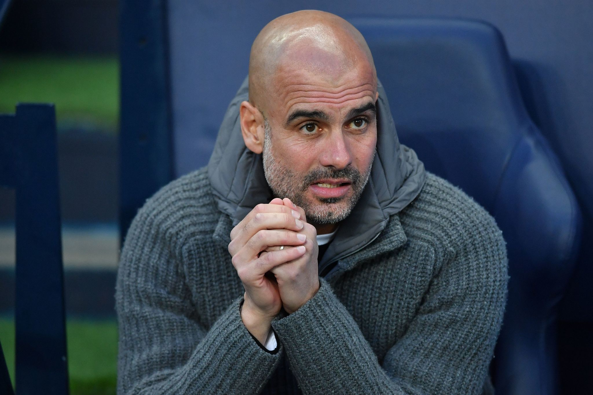 Manchester Citys Spanish manager Pep <HIT>Guardiola</HIT> looks on before the UEFA Champions League quarter final second leg football match between Manchester City and Tottenham Hotspur at the Etihad Stadium in Manchester, north west England on April 17, 2019. (Photo by Ben STANSALL / AFP)