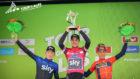 Pável Sivakov, Tao Geoghegan Hart y Vicenzo Nibali, en el podio final...