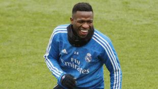 Vinicius, en el entrenamiento del pasado miércoles.