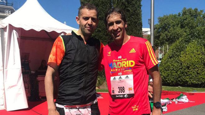 Miguel Angel Toribio from Radio MARCA with Raul Gonzalez Blanco.