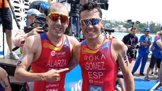 Gómez Noya, segundo en Bermudas, junto a Fernando Alarza.