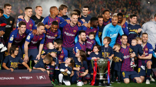 The Barcelona players celebrate their league title win