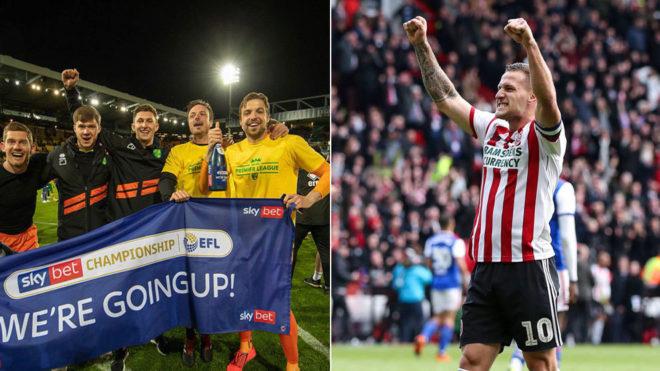 Celebración del Norwich y del Sheffield United.