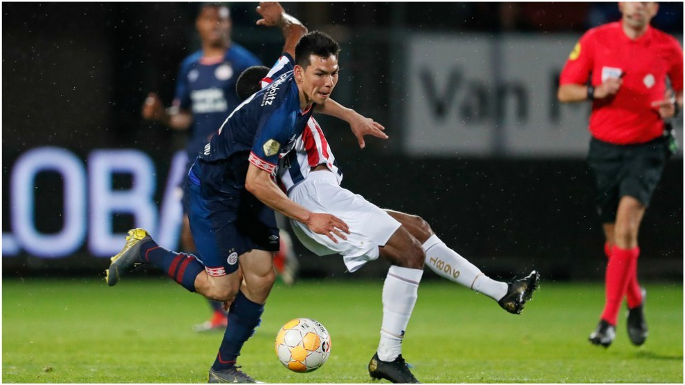 Chucky Lozano, en el partido del PSV contra el Willem II.