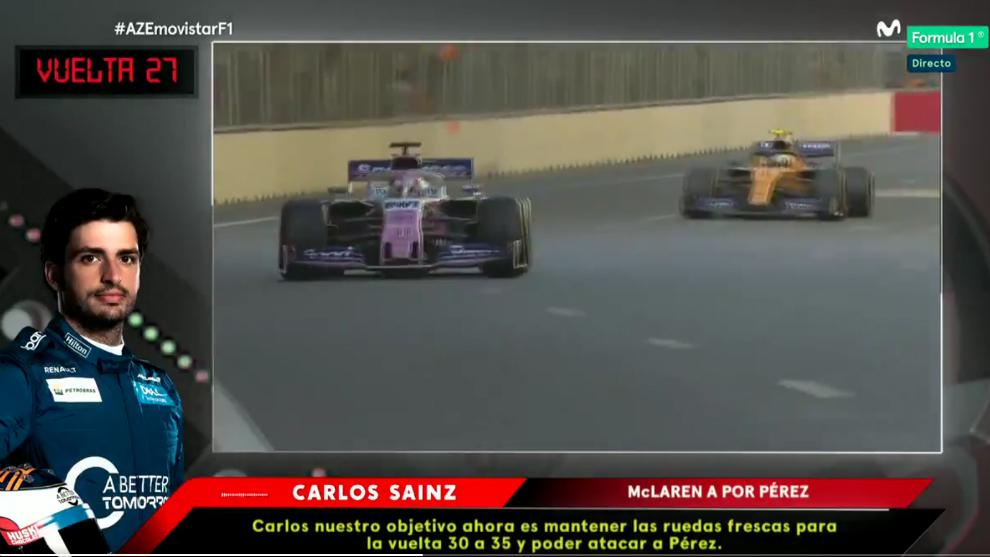 El mensaje que recibió Sainz en la vuelta 27.