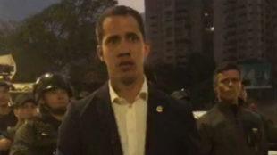 Juan Guaidó, durante su manifiesto