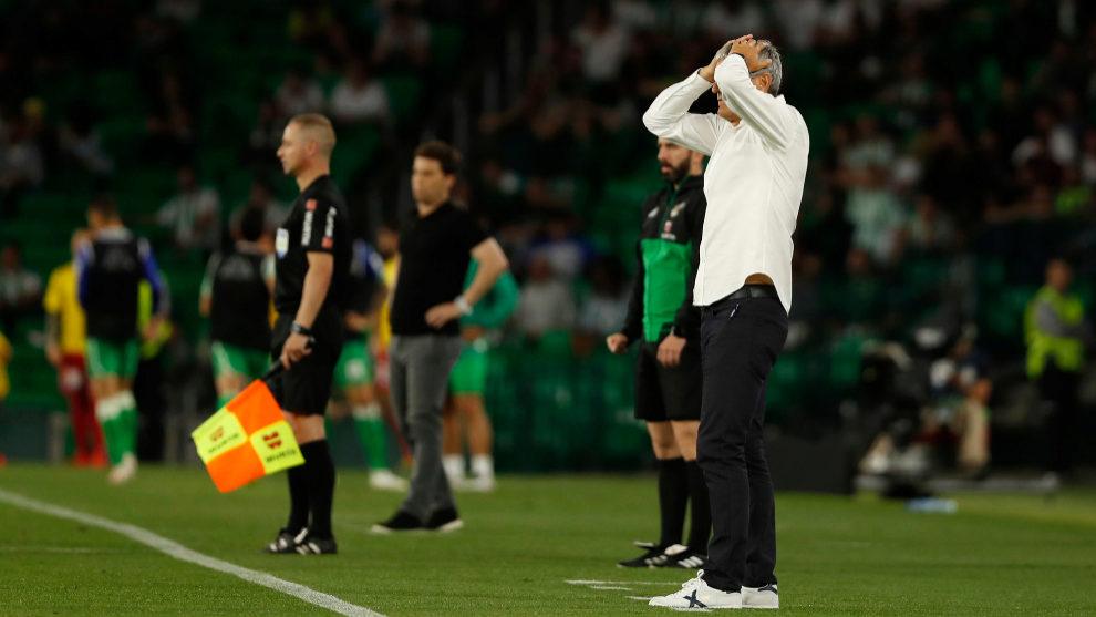 Setién se echa las manos a la cabeza durante el Betis-Espanyol.