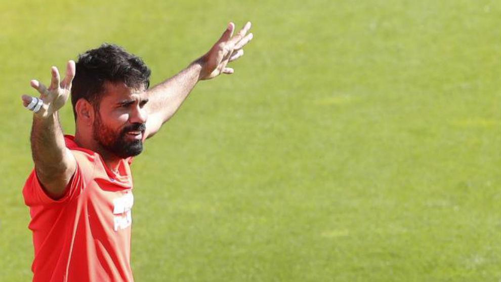 Costa, en el entrenamiento de ayer.