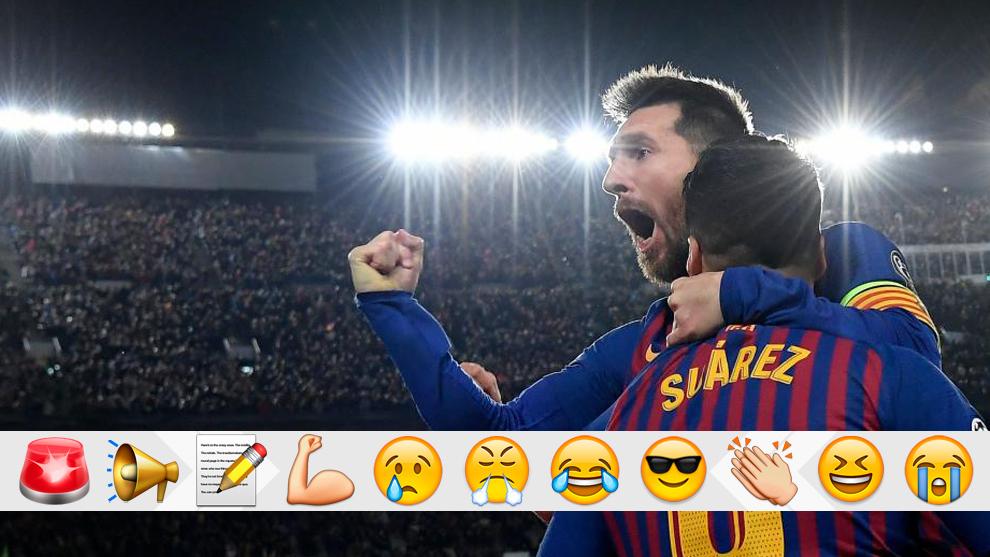 Lionel Messi celebrates his second goal against Liverpool.