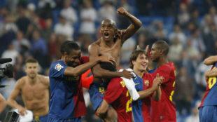 Varios jugadores del Barça celebran la victoria