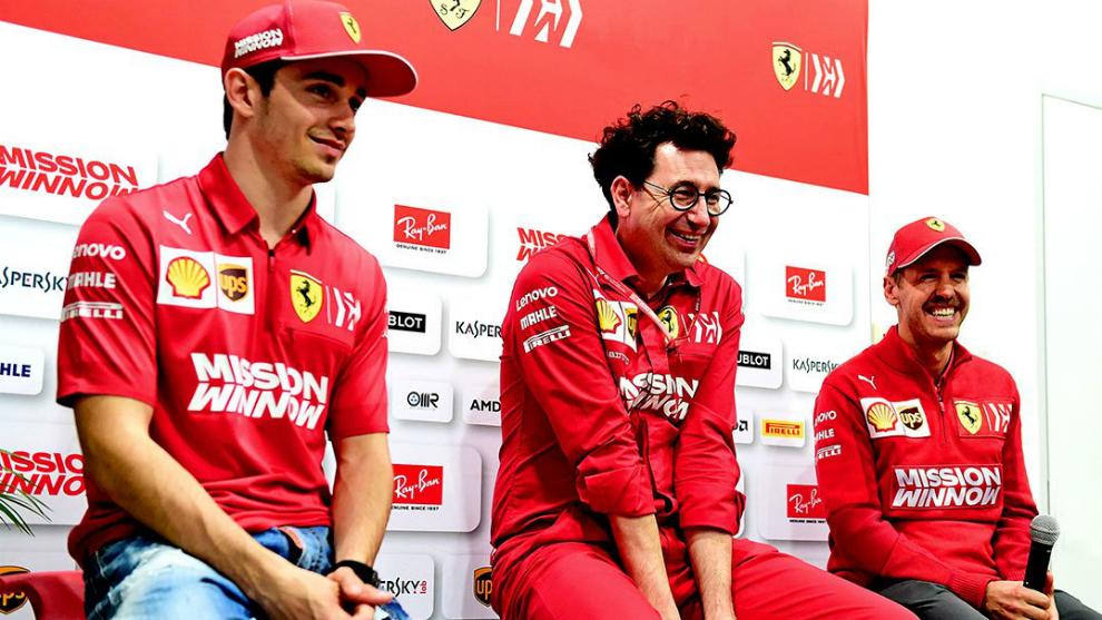 Leclerc, Binotto y Vettel.