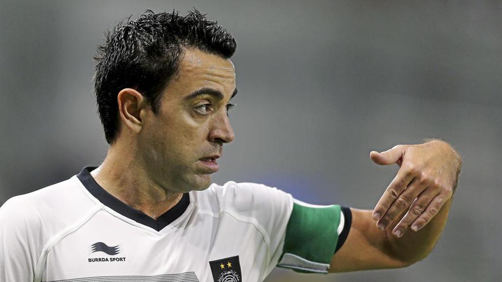 Xavi playing for Al Saad.
