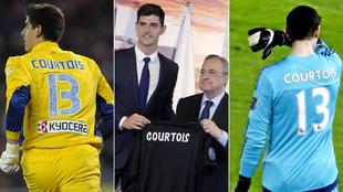 Courtois, con Atlético, en su presentación y con el Chelsea