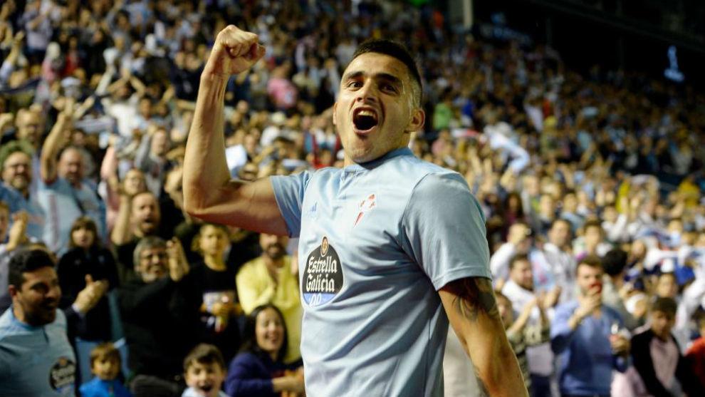Maxi celebra el gol del Celta al Barcelona.