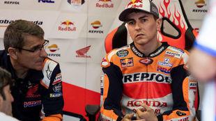 Lorenzo, antes de la disputa del Gran Premio de España.