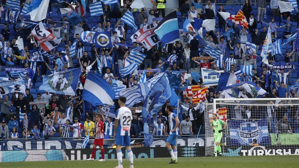 La grada del RCDE Stadium, contra el Atlético.