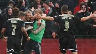 Jugadores del Ajax en festejo