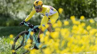 Primoz Roglic en su última exhibición del Tour de Romandía, ayer...