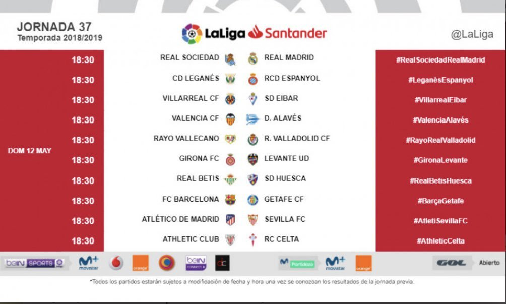 Boutique en ligne ofrecer descuentos nueva temporada Calendario Liga Santander: Jornada 37 de primera división ...