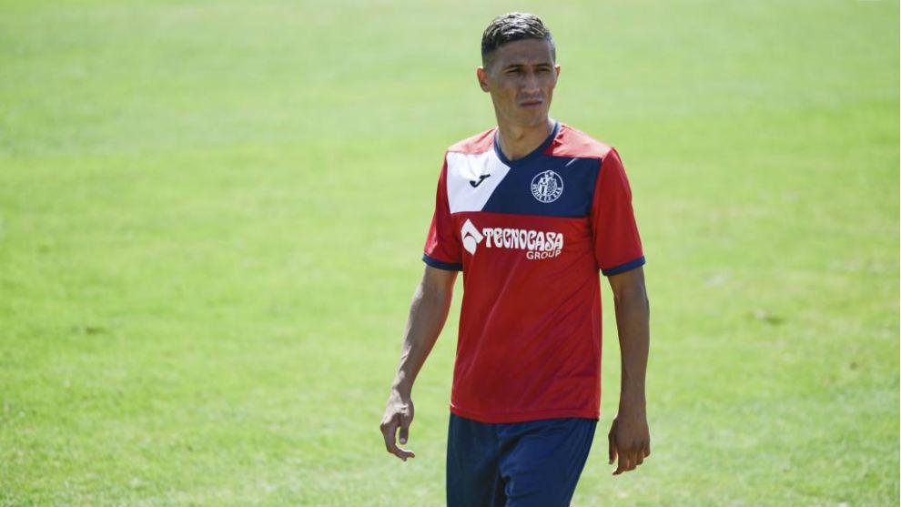 Fayçal, en un entrenamiento con el Getafe.