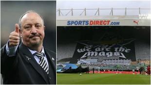 La espectacular pancarta de apoyo de los hinchas del Newcastle.