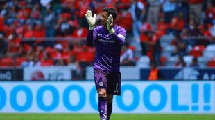 Alfredo aplaude tras una anotación del Toluca.