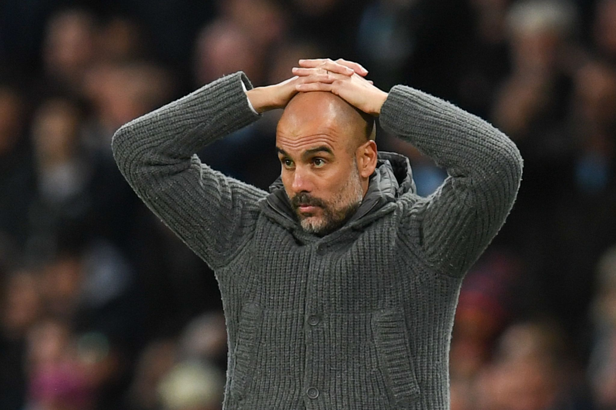 Manchester Citys Spanish manager Pep <HIT>Guardiola</HIT> reacts during the English Premier League football match between Manchester City and Leicester City at the Etihad Stadium in Manchester, north west England, on May 6, 2019. (Photo by Paul ELLIS / AFP) / RESTRICTED TO EDITORIAL USE. No use with unauthorized audio, video, data, fixture lists, club/league logos or live services. Online in-match use limited to 120 images. An additional 40 images may be used in extra time. No video emulation. Social media in-match use limited to 120 images. An additional 40 images may be used in extra time. No use in betting publications, games or single club/league/player publications. /