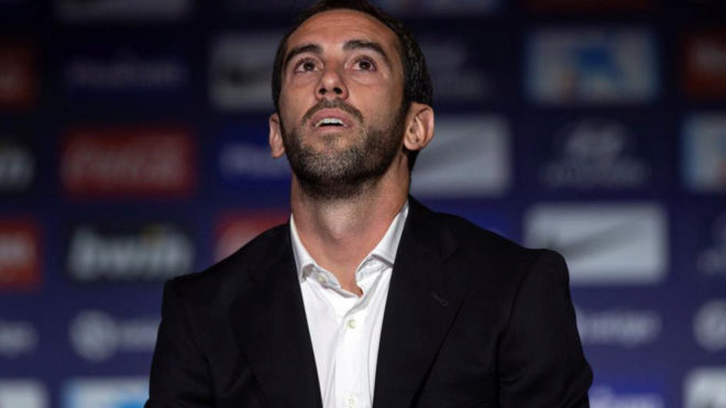 Diego Godin at his press conference.