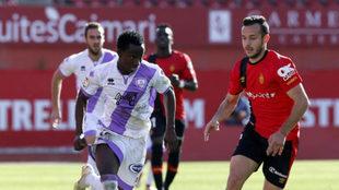 Yeboah, durante el partido en Son Moix ante el Mallorca