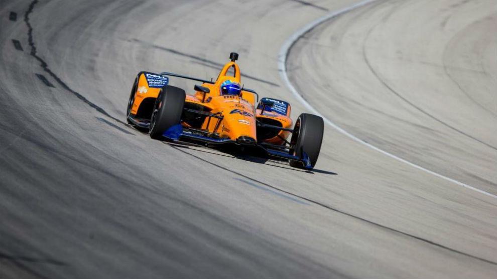 Fernando Alonso, en el óvalo de Indy.
