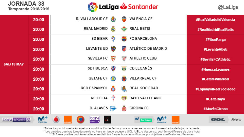 LaLiga Santander: Final round fixtures moved to avoid clash