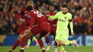 Leo Messi, en el partido en Anfield