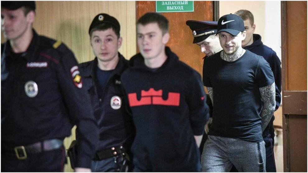Mamáev y Kokorin, a su entrada a los juzgados.