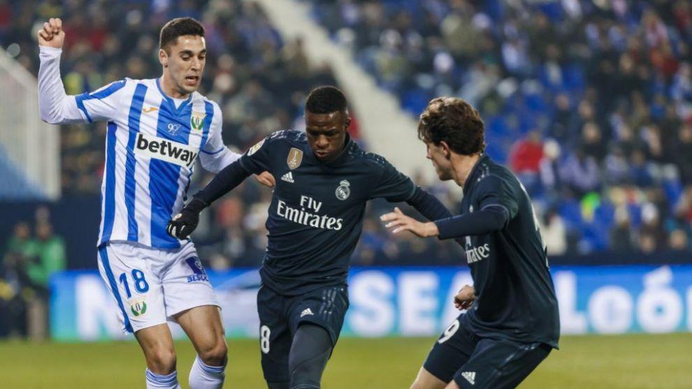 Sabin, en un partido de Copa del Leganés contra el Real Madrid.