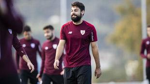 Villalibre, en un entrenamiento con el Athletic.
