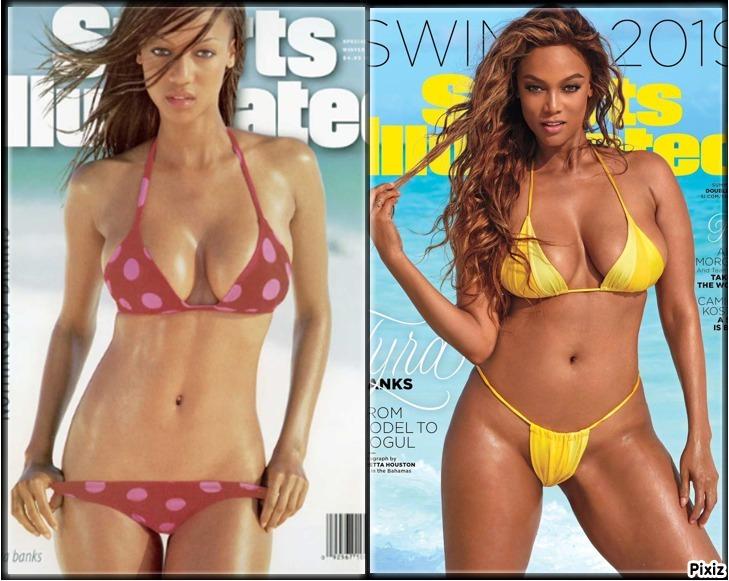 Tyra Banks con 23 años en la portada del Sports Illustrated Swimsuit...
