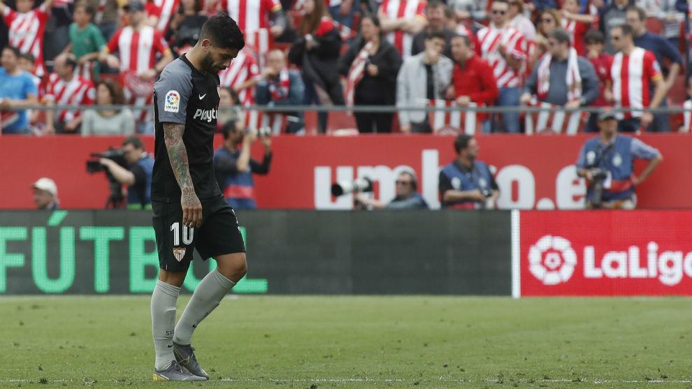 El sevillista Éver Banega (31), en el partido frente al Girona.