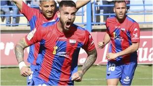 Borja Granero celebra el gol que le marcó al Córdoba