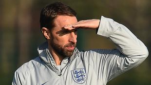 Southgate, durante un entrenamiento con Inglaterra