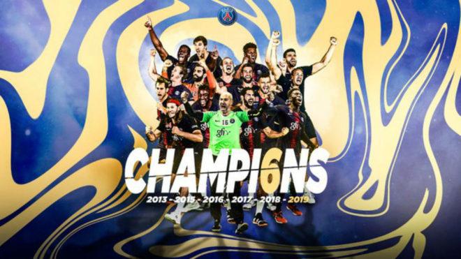 Cartel del Paris Saint-Germain como campeón de la Liga francesa /