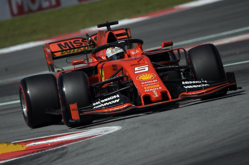 Ferraris German driver Sebastian <HIT>Vettel</HIT> drives during the first practice session at the Circuit de Catalunya on May 10, 2019 in Montmelo on the outskirts of Barcelona ahead of the Spanish Formula One Grand Prix. (Photo by LLUIS GENE / AFP)