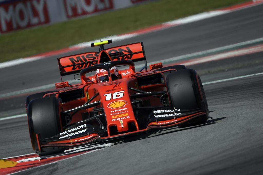 Ferraris Monegasque driver Charles <HIT>Leclerc</HIT> drives during the first practice session at the Circuit de Catalunya on May 10, 2019 in Montmelo on the outskirts of Barcelona ahead of the Spanish Formula One Grand Prix. (Photo by LLUIS GENE / AFP)