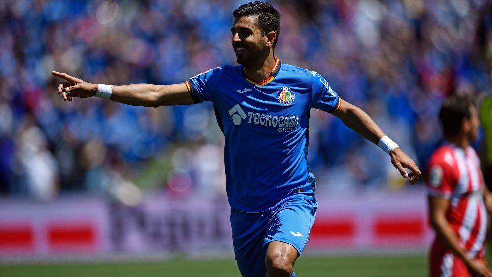 Ángel Rodríguez celebra un gol con el Getafe
