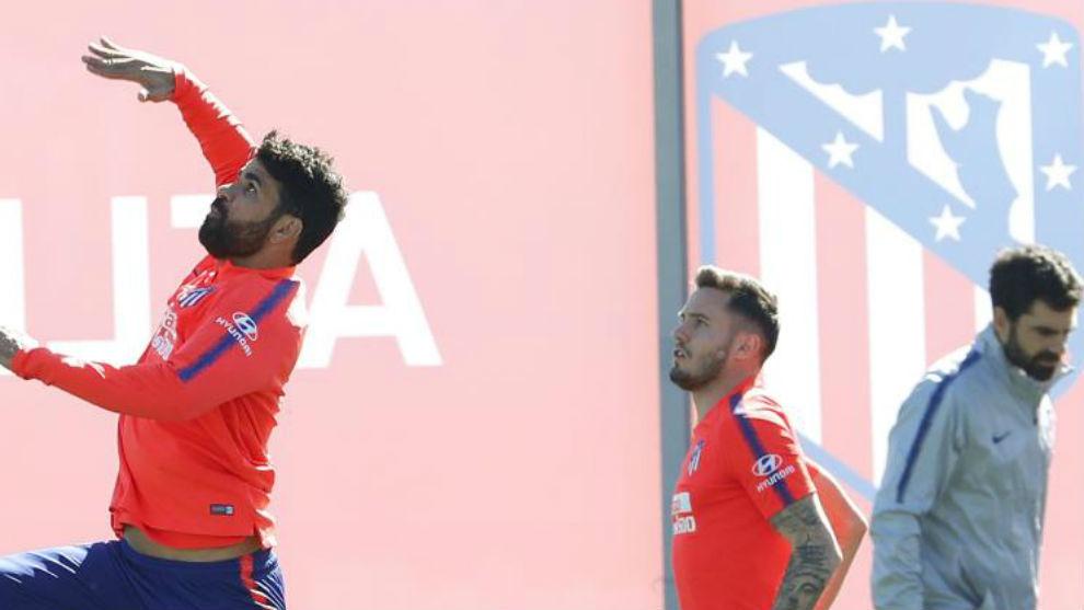 Costa y Saúl, en un entrenamiento.
